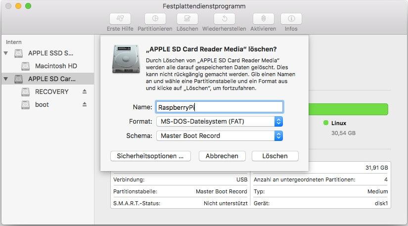 Mac SD Karte formatieren