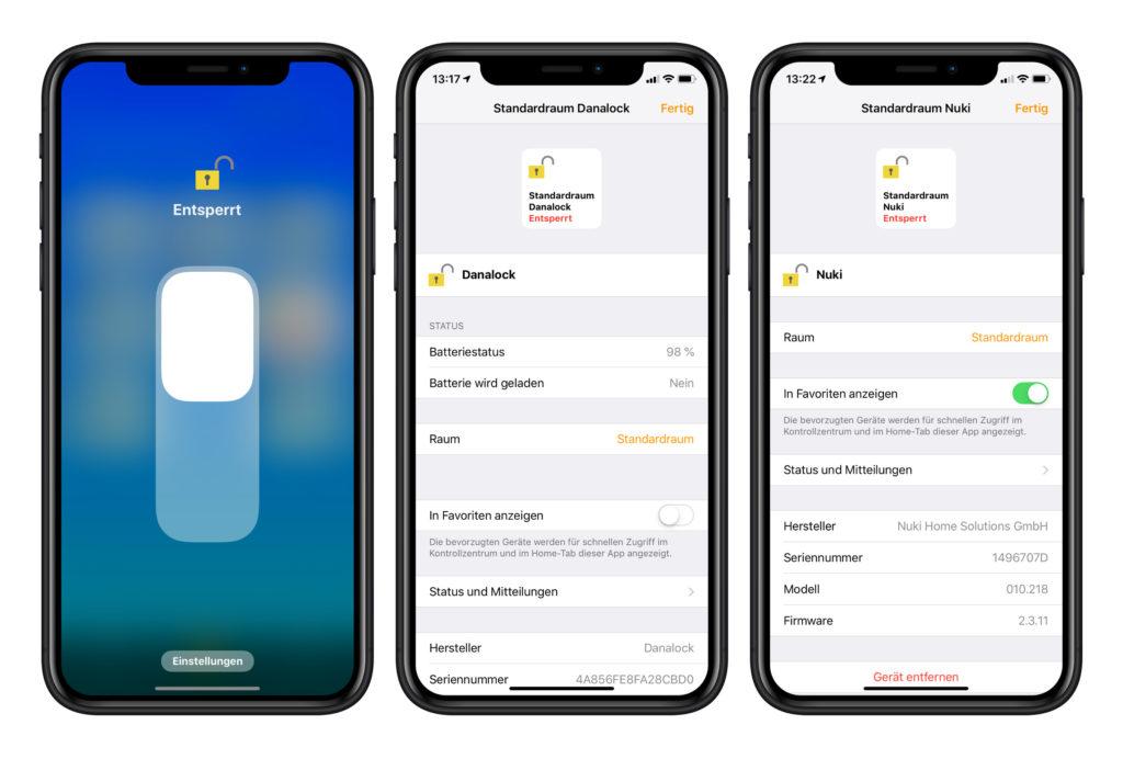 Danalock und Nuki in der Apple HomeKit App