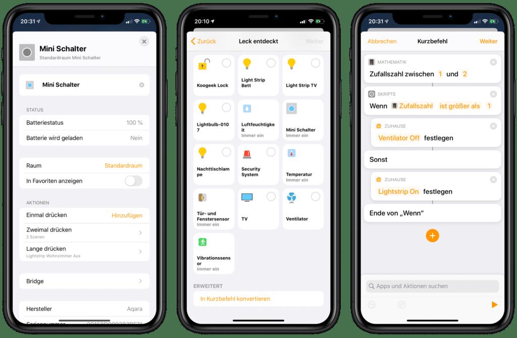 HomeKit und Kurzbefehle Automationen iOS 13.1