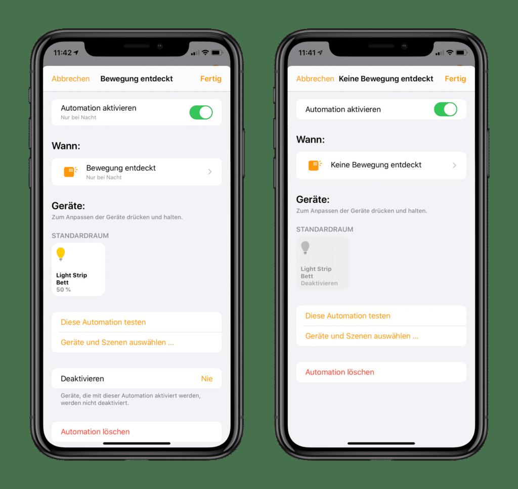 Apple HomeKit Nachtlicht Automationen in Home App