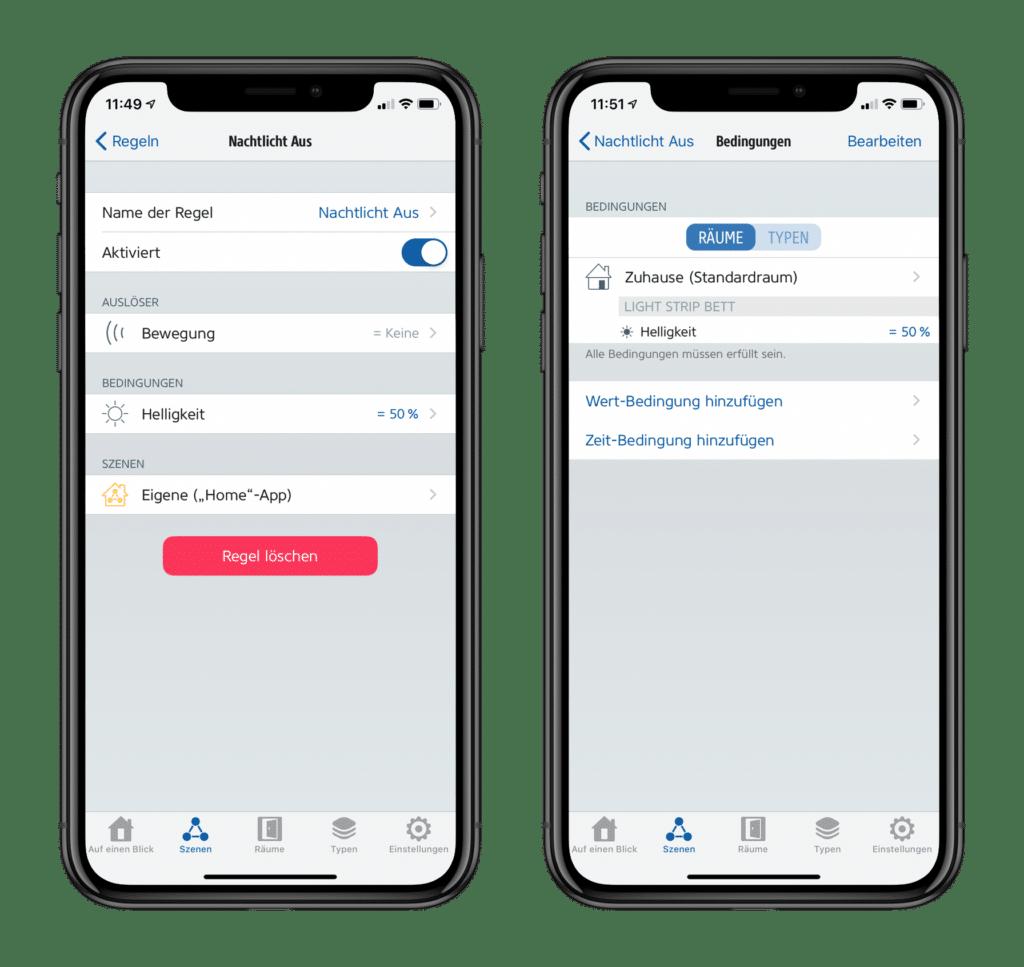 Apple HomeKit Nachtlicht Automationen in Eve App
