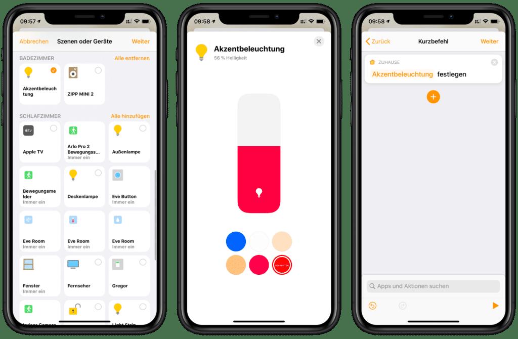 Zähneputzen mit Siri: Lampenfarbe einstellen