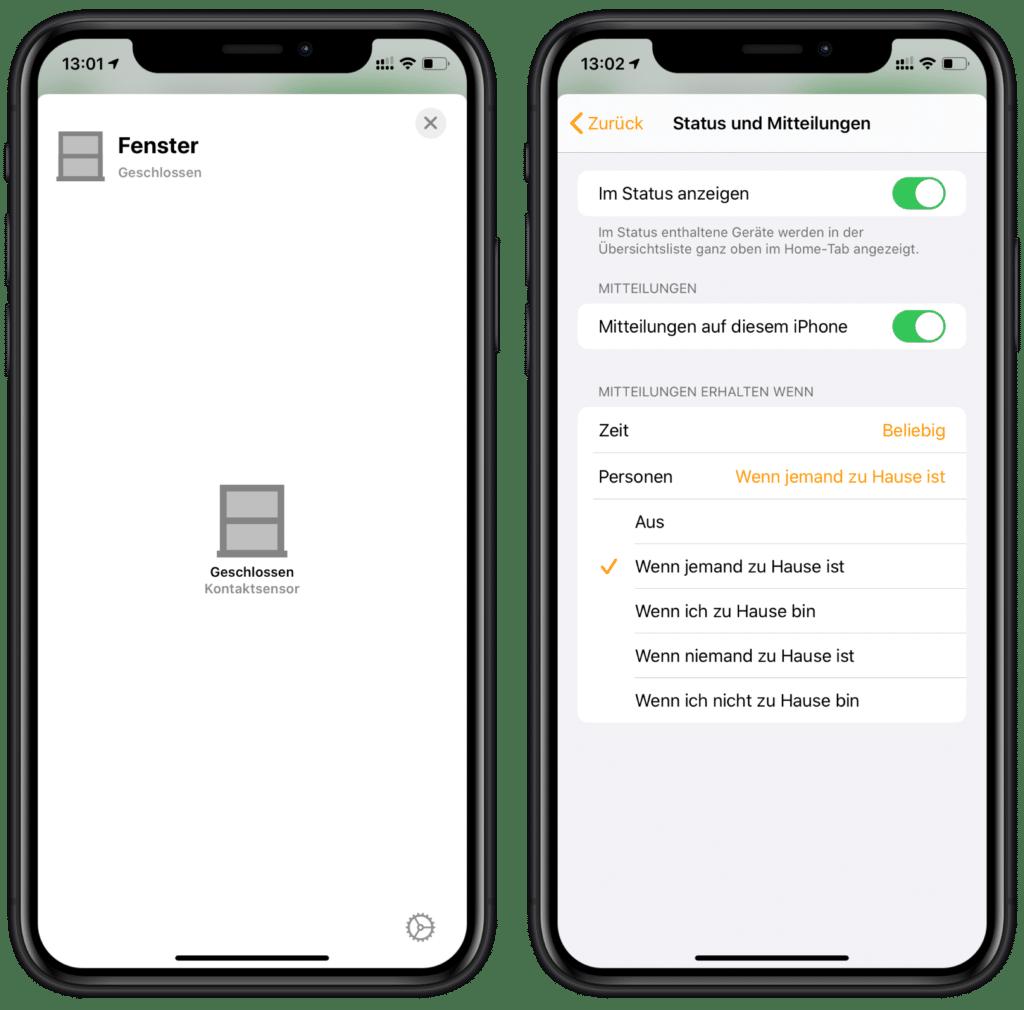 HomeKit Alarmanlage - Mitteilungen für Tür- und Fenstersensor aktivieren