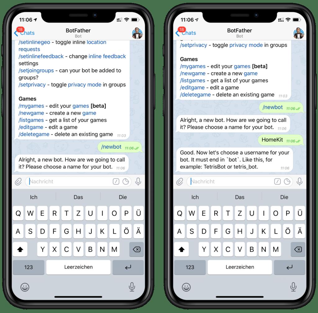 Eigene HomeKit Mitteilungen über Telegram versenden - Bot