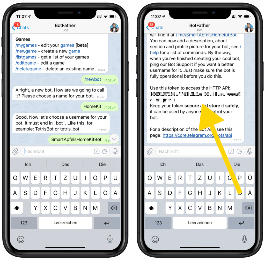 Eigene HomeKit Mitteilungen über Telegram versenden - API Access Token