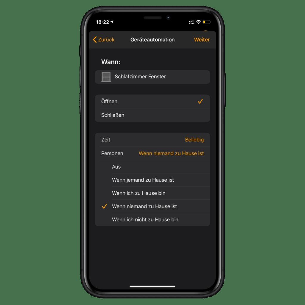AirPlay 2 Lautsprecher als HomeKit Sirene nutzen - Sensor auswählen