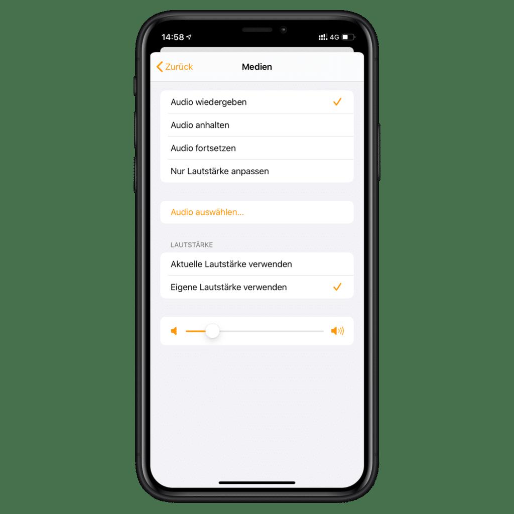 HomeKit Wecker mit Musik - Lautstärke anpassen