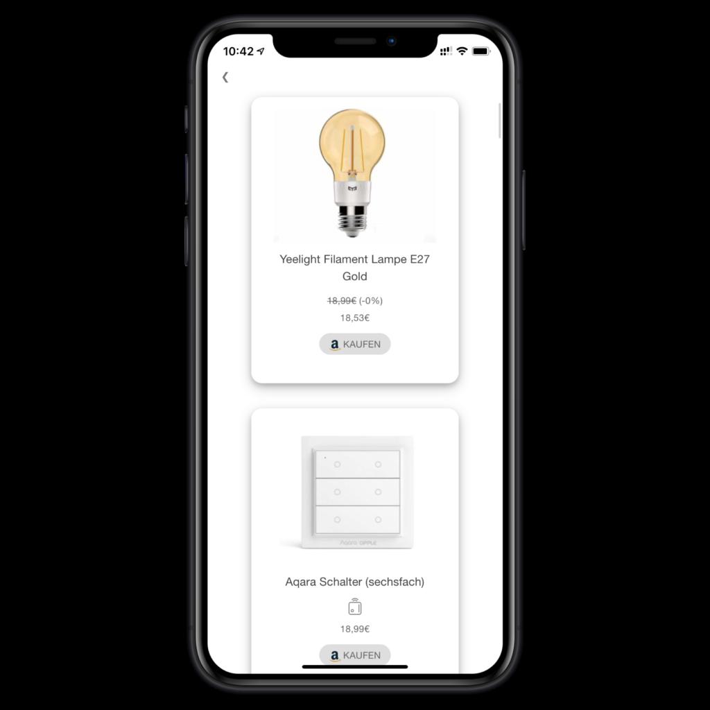 Neue HomeKit Produkte in der Geräteübersicht