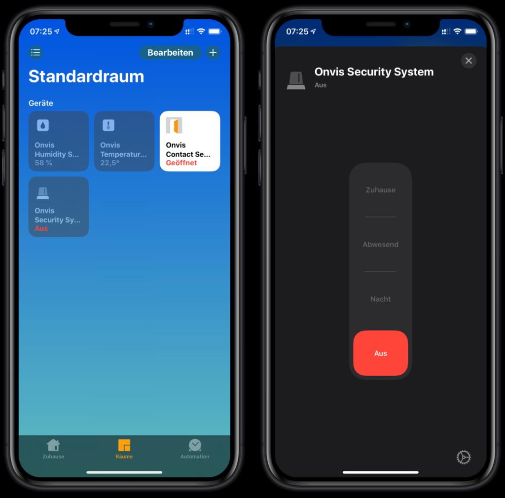 Onvis CS1 in Apples Home App