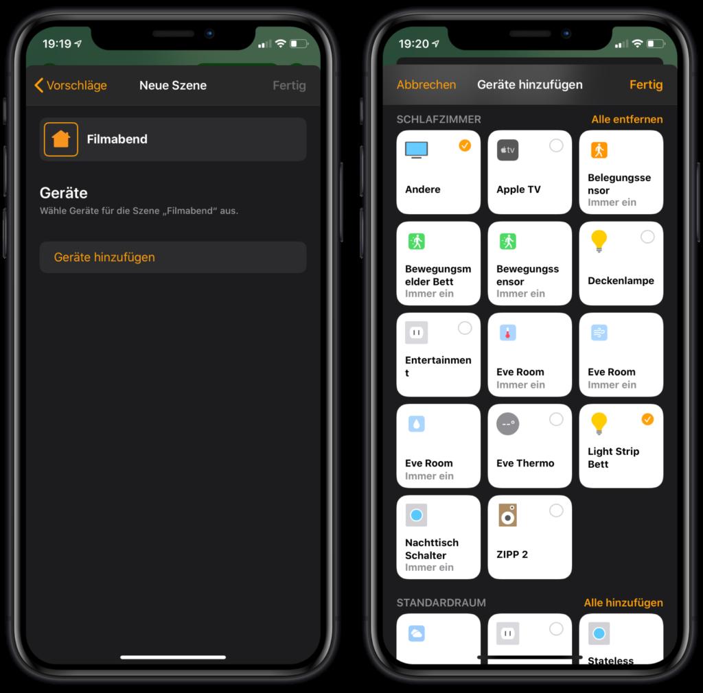 HomeKit Sleep Timer - Geräte auswählen