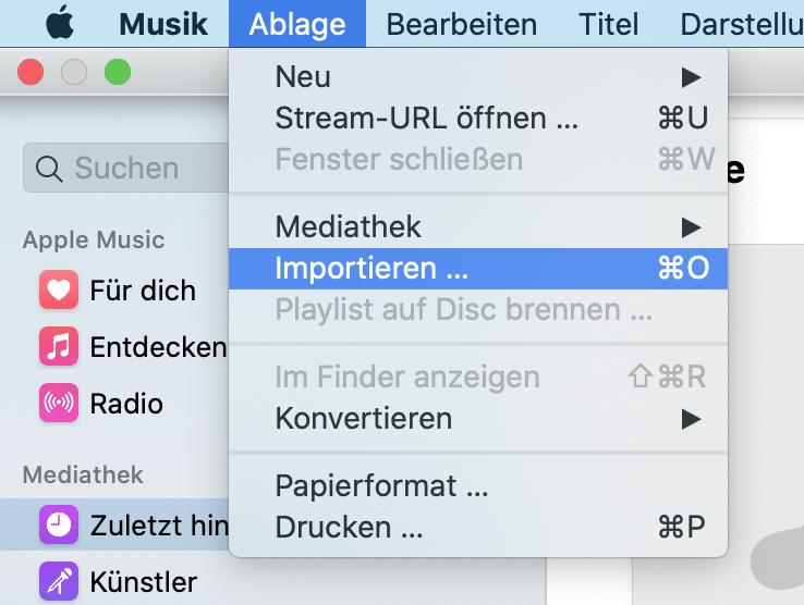Audio importieren