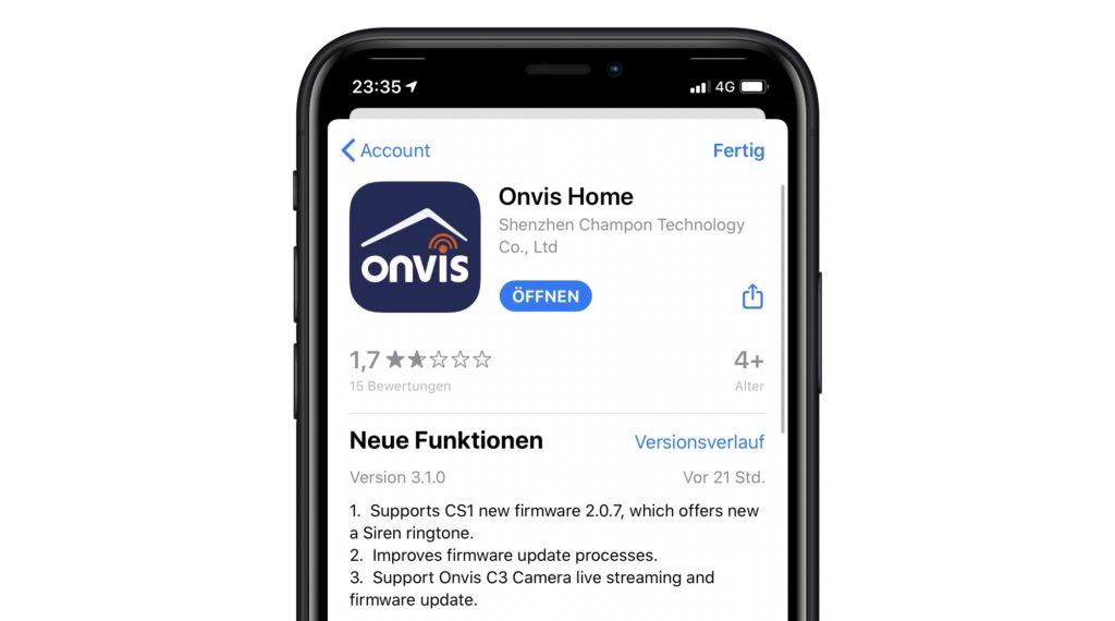App-Update: Onvis CS1 mit neuem Sirenenton und Vorbereitung auf die neue Kamera