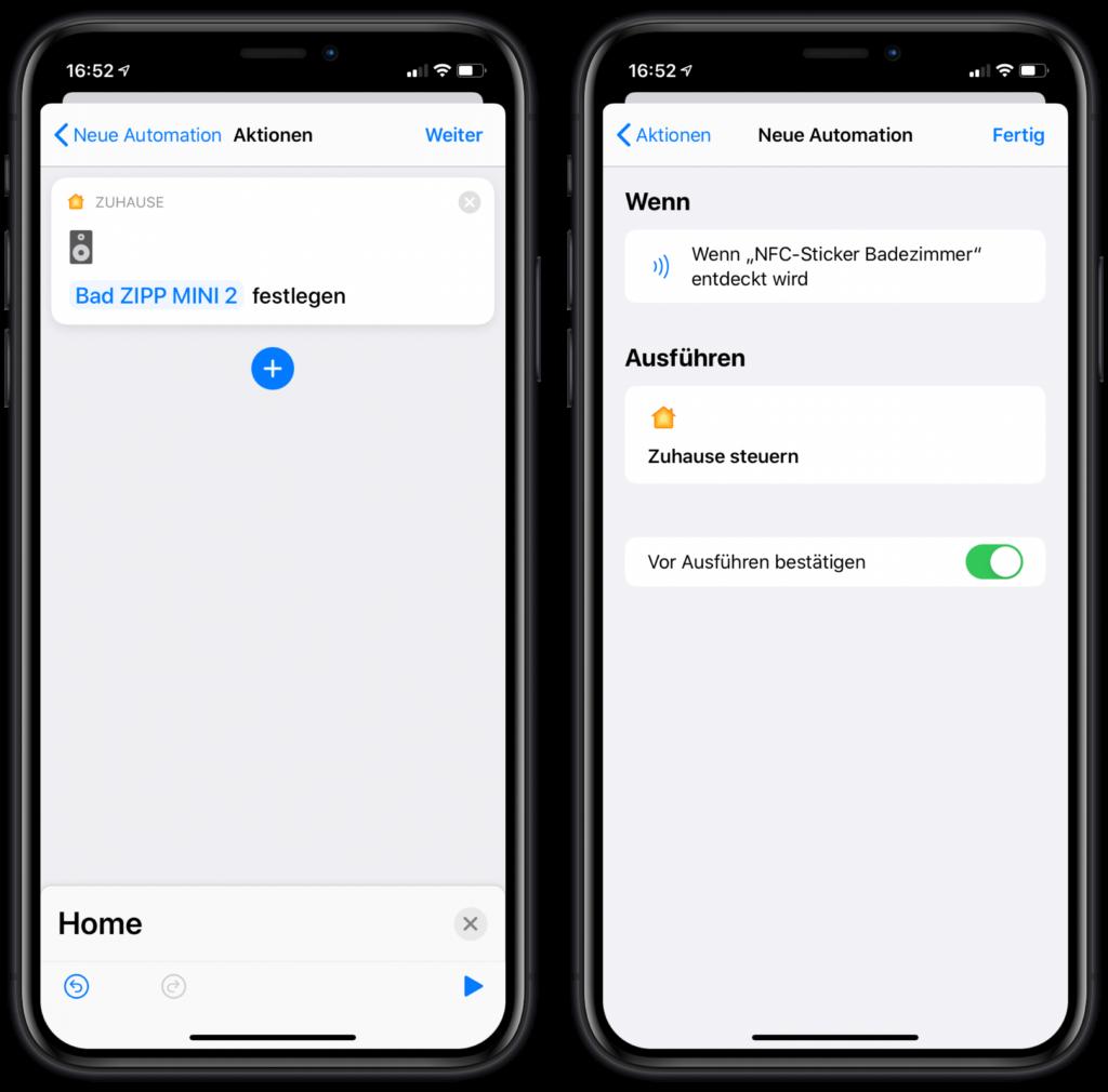 HomeKit Szenen über NFC-Sticker steuern: Automation bestätigen