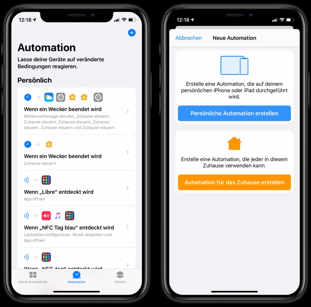 HomeKit Szenen über NFC-Sticker steuern: Neue Automation erstellen