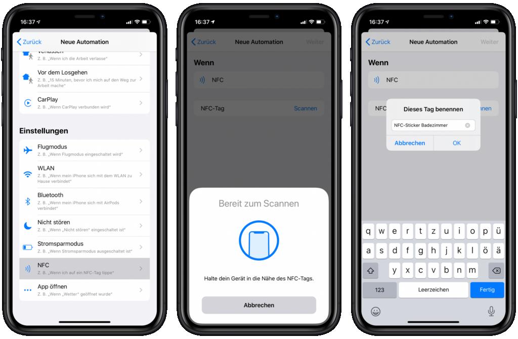 HomeKit Szenen über NFC-Sticker steuern: NFC-Tag scannen