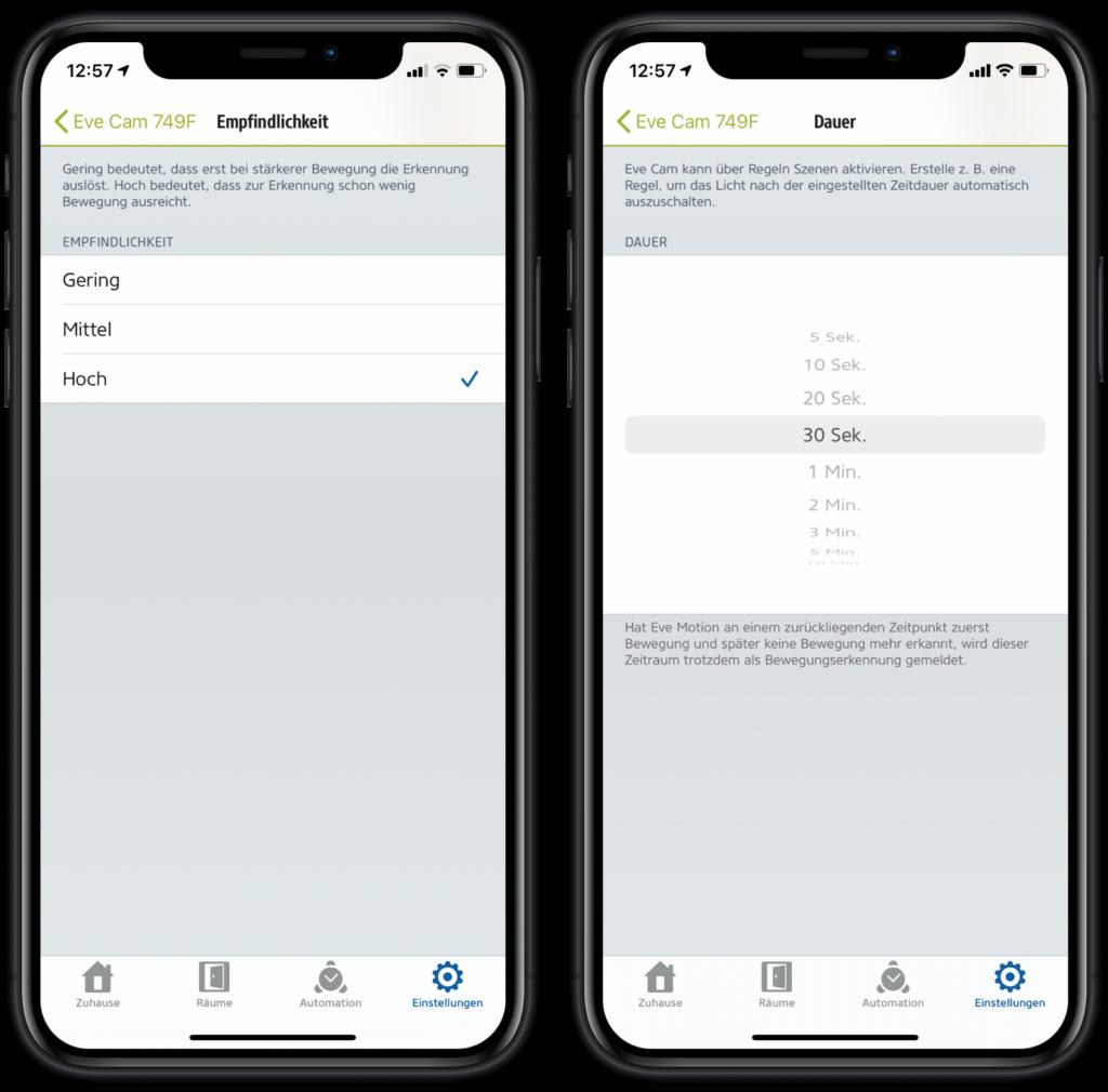 Eve Camm Einstellungen in der Eve-App
