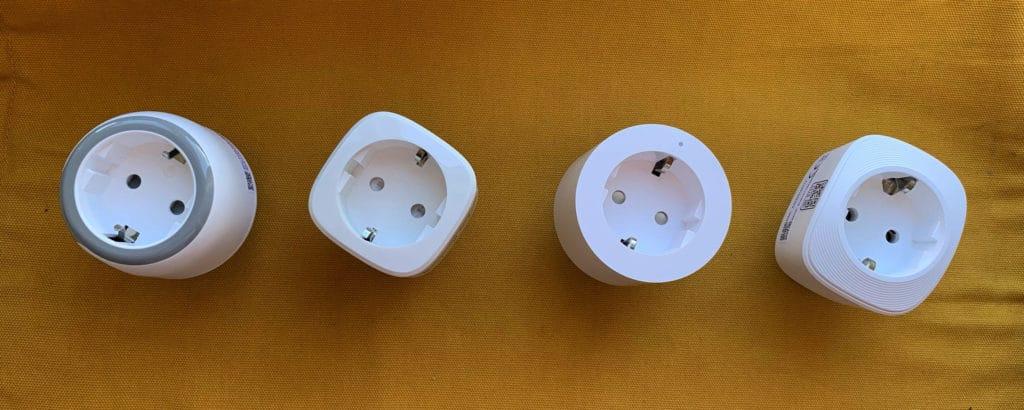 Von links nach rechts: Onvis S3EU, Eve Energy, Aqara Smart Plug, VOCOlinc VP3