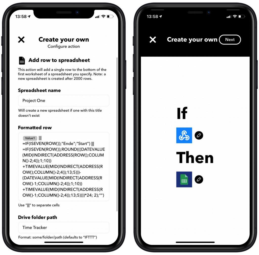 Google Spreadsheet und Inhalt auswählen