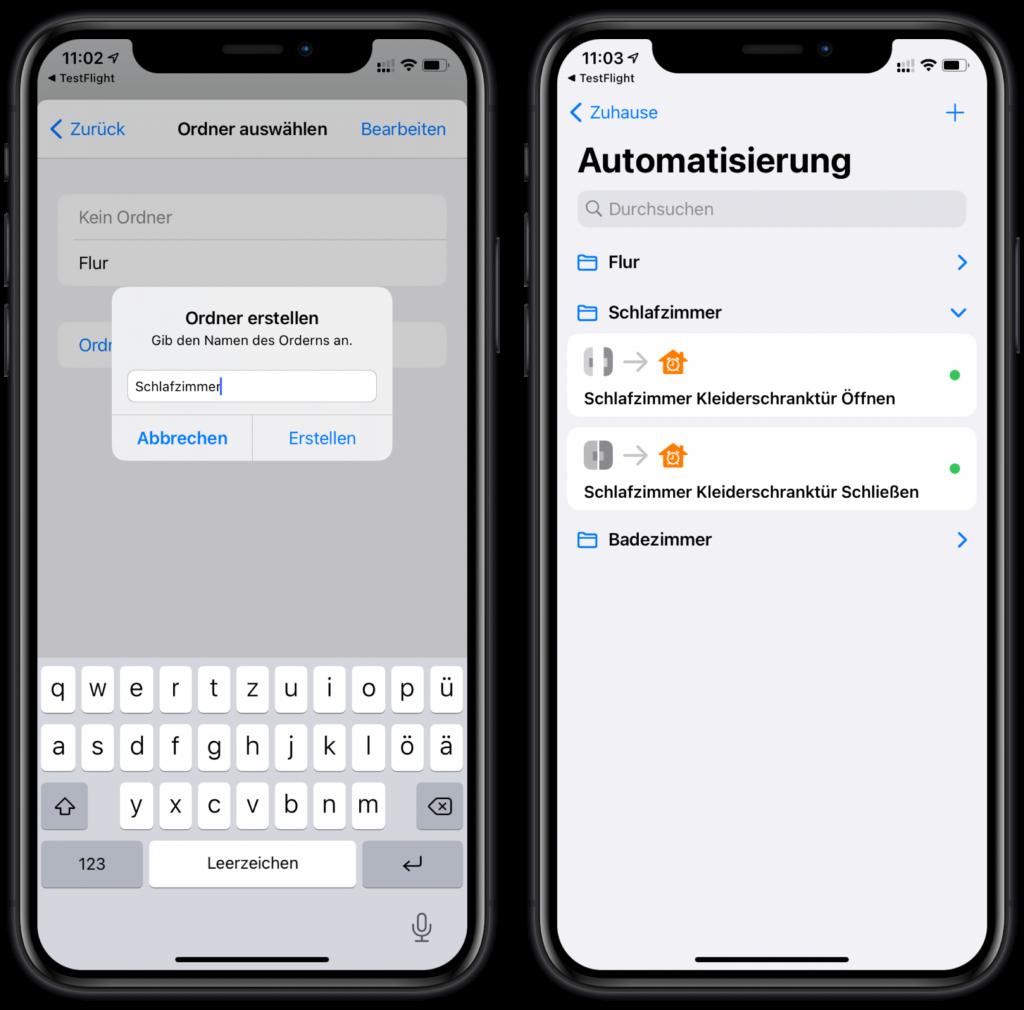 HomeKit-Automationen in Ordnern sortieren