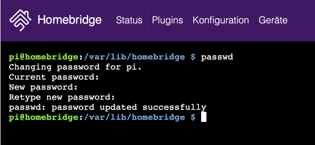 Raspberry Pi Passwort ändern erfolgreich