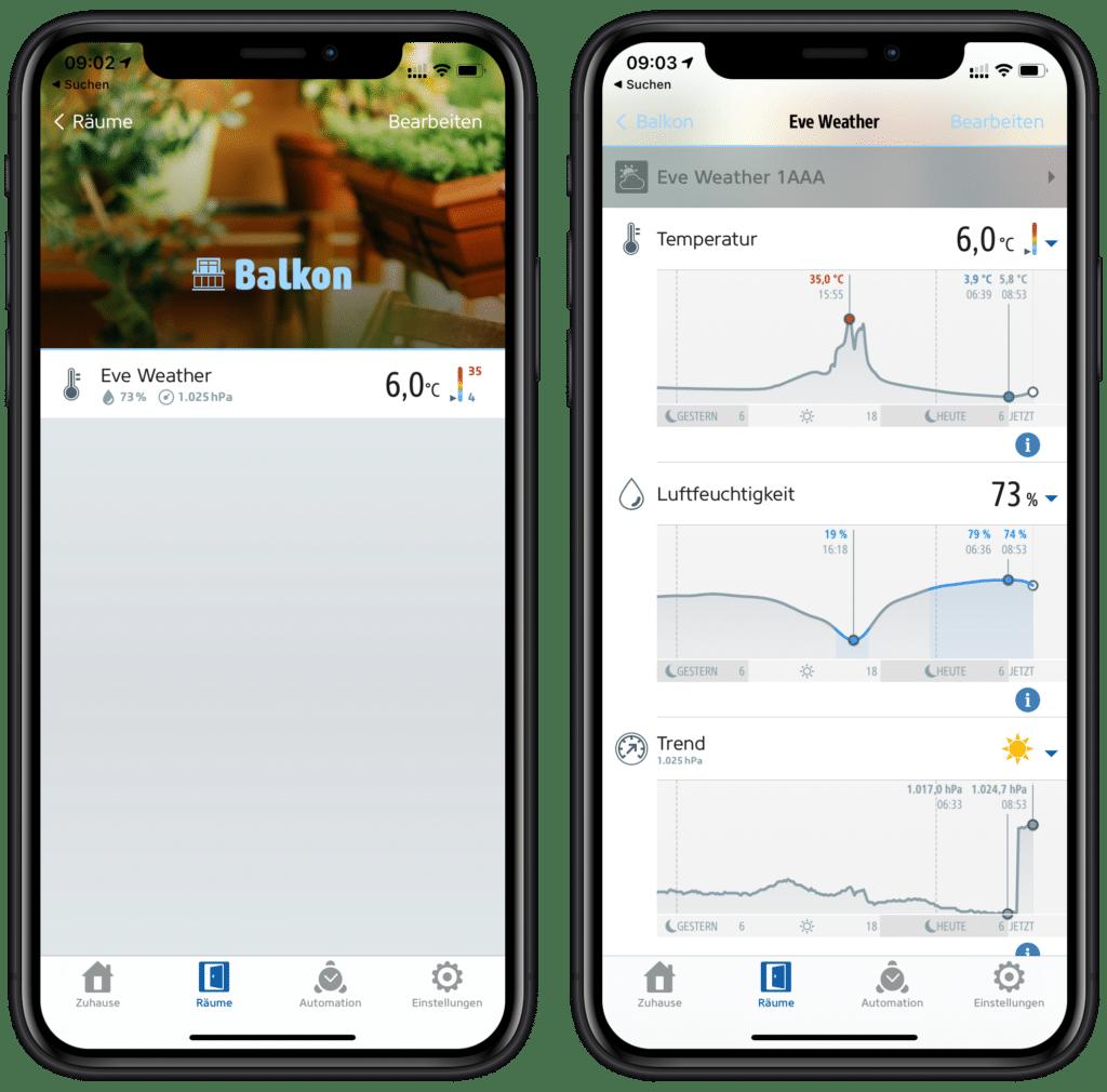 Eve Weather in der Eve App