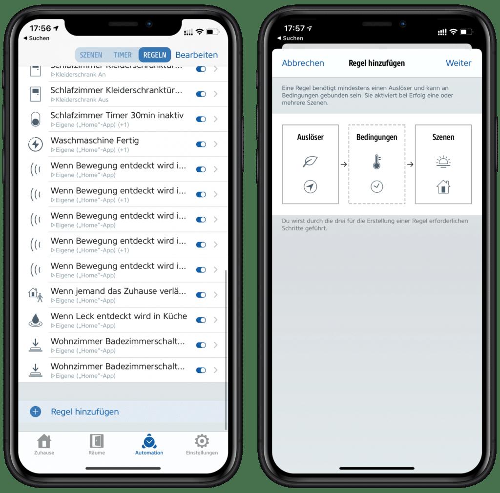 Neue Regel über die Eve-App hinzufügen