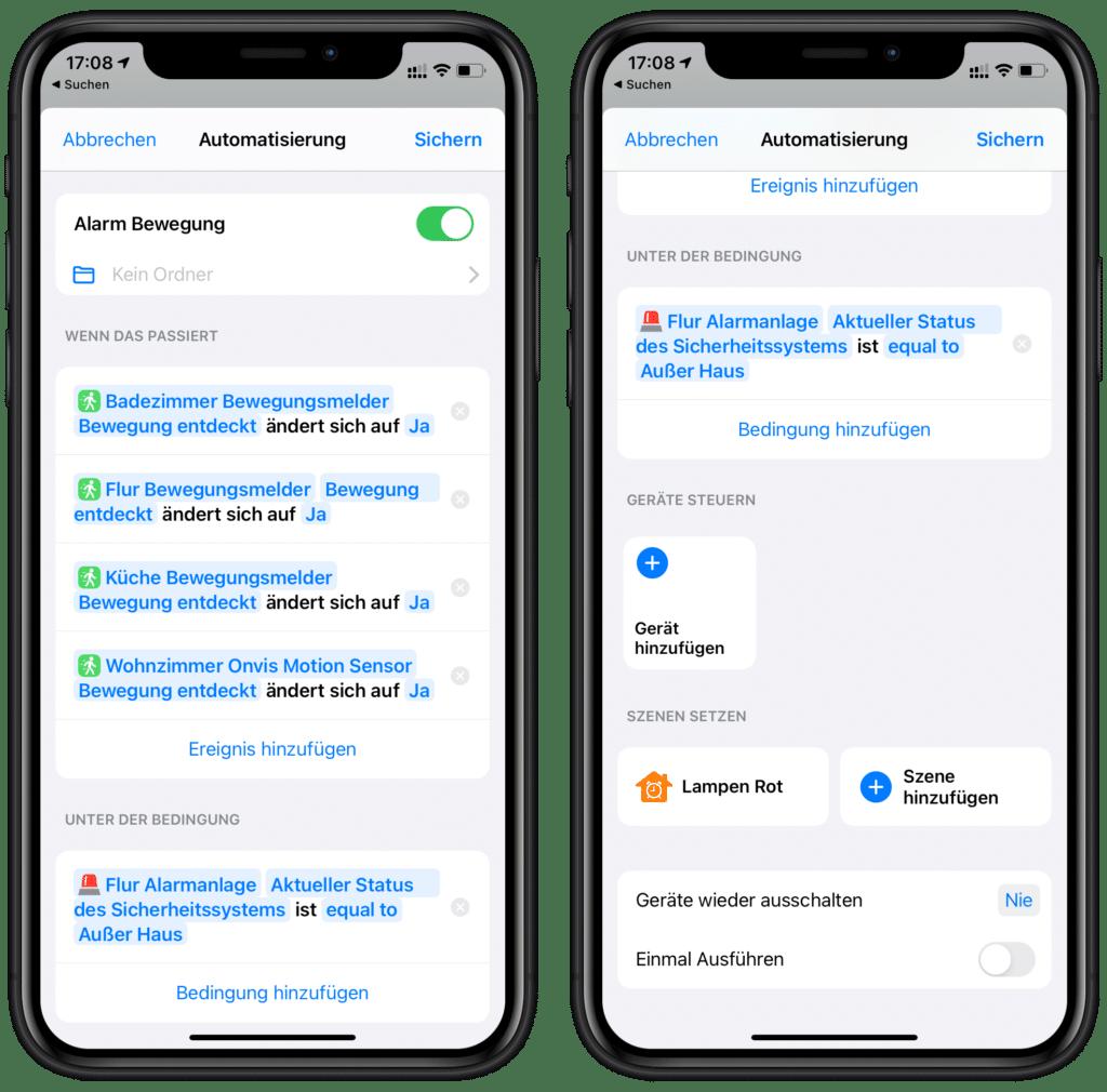 Alarm bei erkannter Bewegung in Home+-App