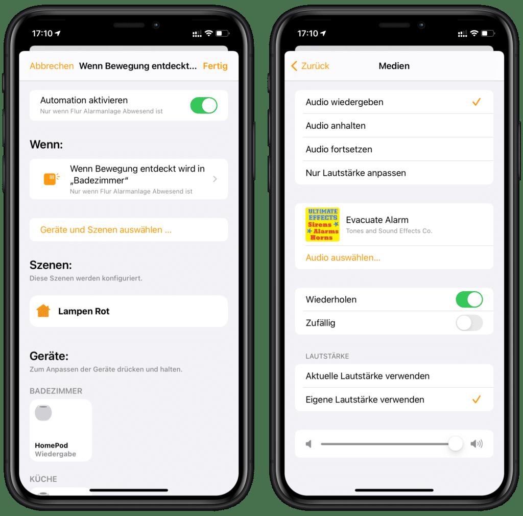 Alarm bei erkannter Bewegung in Apples Home-App