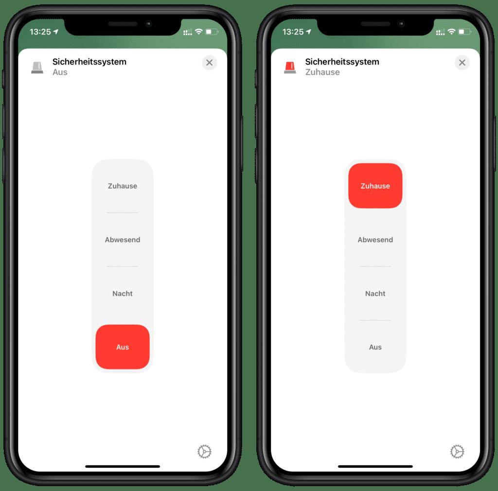 Sicherheitssystem in Apples Home-App