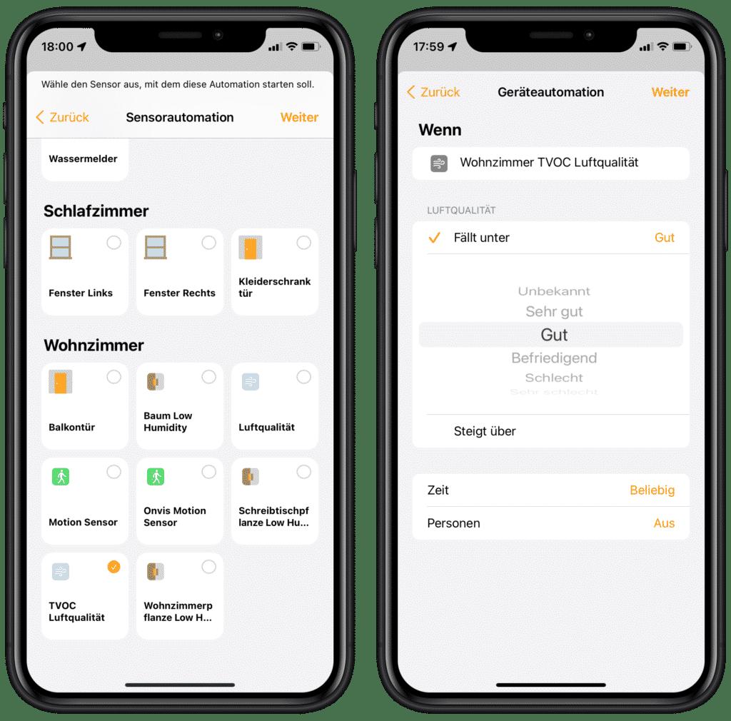 Auslöser in Apples Home-App