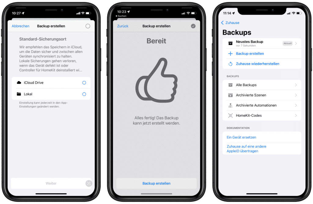 HomeKit-Backup lokal oder in der iCloud speichern