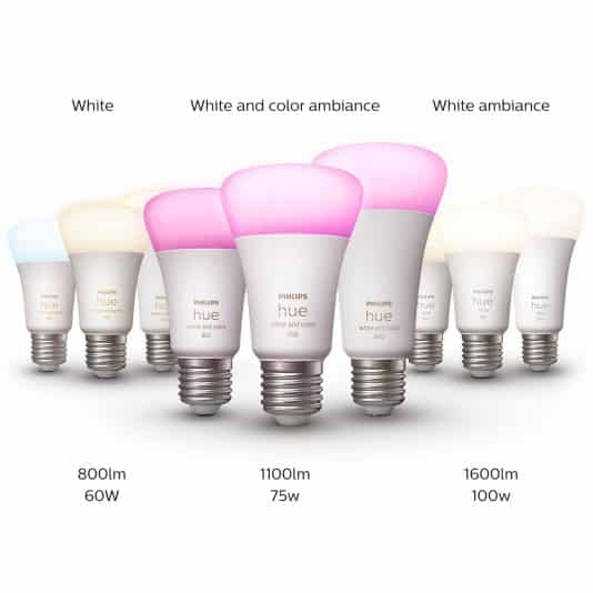 Philips Hue White, White Ambiance sowie White and Color Ambiance Lampen 1100 Lumen