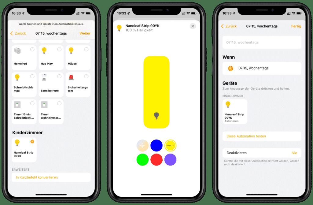 Licht in gelb einschalten